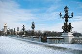Alexander 3 köprü paris kış ile — Stok fotoğraf