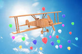 Airplane toy with beautiful blue sky — 图库照片