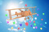 Airplane toy with beautiful blue sky — Stockfoto