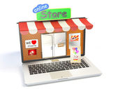 Store on laptop display — Stock Photo