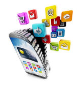 Applications downloading in smartphone — Stock Photo