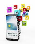 Applications downloading in smartphone — Foto de Stock