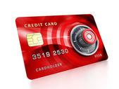 Tarjeta de crédito con cerradura — Foto de Stock