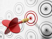красный дарт поражения цели — Стоковое фото