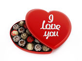 Heart shaped chocolate box with I love you text — Stock Photo