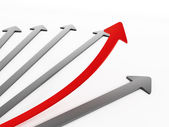 Red arrow moving up — Stock Photo