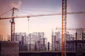 Construction site with cranes — Stock Photo