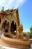Traditional thai style art of naga statue in thai temple — Stock Photo
