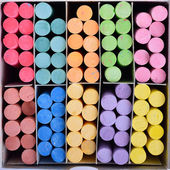 Color chalk in box — Stock Photo