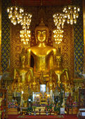 Buddha statue in temple buddhism at Wat Phra That Hariphunchai — Foto Stock