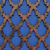 Motif islamic style decorate on the blue wall — Stock Photo