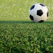 Soccer field stadium on the green grass, soccer ball sport game  — Stock Photo
