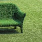 Eco style of interior decoration the grass sofa with green grass — Stock Photo