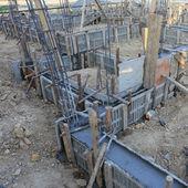 строительный дом, армирование металлическим каркасом — Стоковое фото