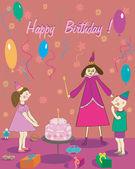 Happy Birthday  Gift girl boy cake and fairy — Stock Vector