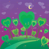 Fantezi manzara resmi. Orman ve gece gökyüzü — Stok Vektör