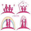 Set of happy family icons. Symbol of wedding. Family house. Pregnancy and parents with doughter and son — Stock Photo #51652233