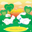 Rabbits love hearts vector card with place for text — Stock Photo #51652375