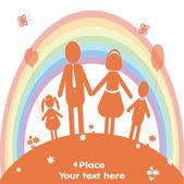Счастливая семья и радуга. Векторные иллюстрации — Стоковое фото