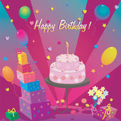 Template for Happy Birthday card with cake and ballon — Stock Photo
