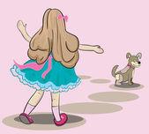 Dziewczynka ilustracja ładny z psem w ulicy — Zdjęcie stockowe