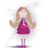 Illustration of cute girl sings a song with microphone.  — Stock Photo