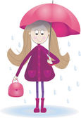 Illustration with cute girl rain umbrella  rainy day — Foto Stock