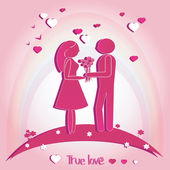 Pair of Lovers with Hearts. Vector illustration on pink background. Silhouette.  — Stock Photo