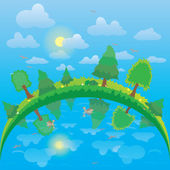 Vector landscape with green trees and lake and  sky — Stock Photo