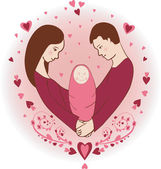 Illustration of happy family with newborn baby — Foto Stock