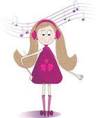 милая маленькая девочка прослушивания музыки в наушниках — Стоковое фото