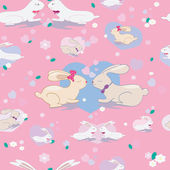 Cute seamless pattern with bunnies and hearts — Stock Photo