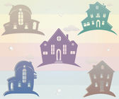 Set of icons houses. Vector illustration. Silhouette — Foto de Stock