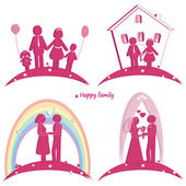Set of happy family icons. Symbol of wedding. Family house. Pregnancy and parents with doughter and son — Stock fotografie