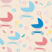 Seamless pattern for newborn baby with stroller and pacifier — Stock Photo