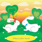 Rabbits love hearts vector card with place for text — Stock Photo