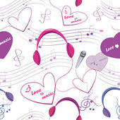 Seamless texture with microphone and headphones, note and hearts — Stock Photo