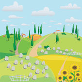 Landscape of meadows, sheep and harvesting crops — Stock Photo