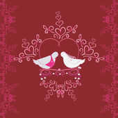 Illustration of wedding pigeons and heart. Seamless texture or card of dove — Foto Stock