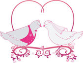 Illustration wedding pigeons and heart. Icon or card of doves — Stock Photo