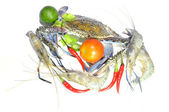 Blue crab, giant freshwater lobster and red hot chillies isolated on white background — Stock Photo