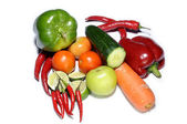 Fresh tomatoes, chilies, pepper, cucumber cut and carrot on white — Stockfoto