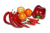 Fresh tomatoes, chilies and red bell pepper on white — Stock Photo