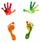 Watercolor colorful handprint and footprint, on a white background — Stock Photo