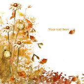 Tarjeta acuarela de otoño, sobre un fondo blanco — Foto Stock