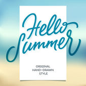 HELLO SUMMER hand lettering calligraphy template — Stock Vector