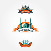 Set of vintage mosque badges and emblems — Stock Vector