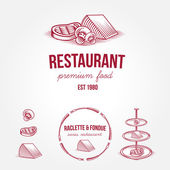 Set of vintage monochrome restaurant labels and design elements — Stockvektor