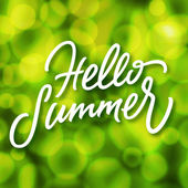 Green summertime background and hello summer lettering — Stock Vector