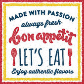 Bon appetit retro vintage print poster — Stock Vector